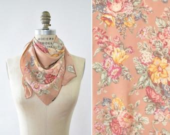 Vintage Ralph Lauren Scarf • Floral Silk Scarf • Pink Silk Scarf • Vintage Silk Scarf • Floral Scarf • Pink Silk Scarf    SC323