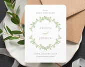 Botanical 'Save the Date' Card / 'Vintage Wreath' Modern Rustic Wedding Announcement / Sage Green / Custom Colours / ONE SAMPLE