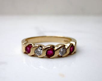 Vintage Diamond and Ruby Wedding Band set in 14k Solid Yellow Gold, Size 6 // Anniversary Band // Stack Band //