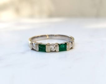 Estate Emerald and Diamond 14k Solid White Gold  Wedding Anniversary Stacking Band, Size 6