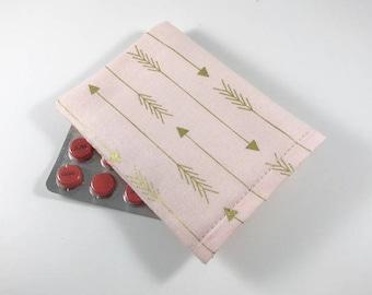 Gold Arrows Birth Control Pill Case, Birth Control Pill Sleeve, Birth Control Pill Holder