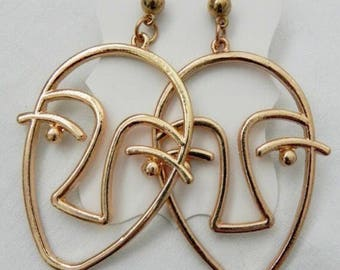 NEW Golden face earrings Matisse style statement wearable art oversized gold coloured bohemian jewelry abstract wire drop fashion