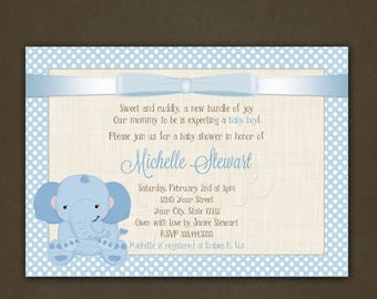 ON SALE Elephant Boy Baby Shower Invitations Printable, Boy