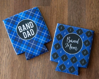 Pair of Can Coolie or Cozies Insulator Sleeves - Band Mom and Band Dad - Blue and Black