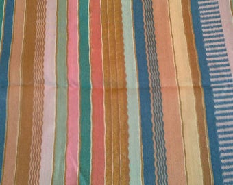 Multi Colored Striped Fabric Cotton Polyester Blend 2 1/2 Yards X0948