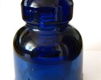 Deep cobalt blue old insulator hallmarked 1967 etc.