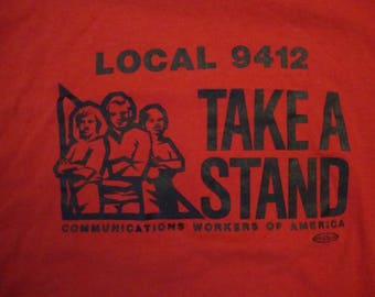 Vintage 80's Communications Workers Of America Local 9412 Red T Shirt Size M