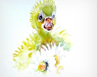 Little duck. Easter- or springcard. Original watercolor.