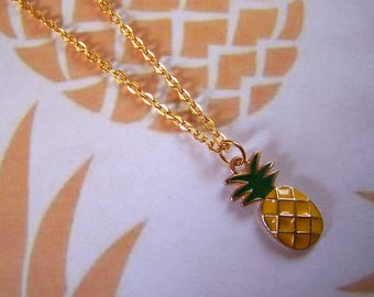Pineapple Charm Necklace Enameled