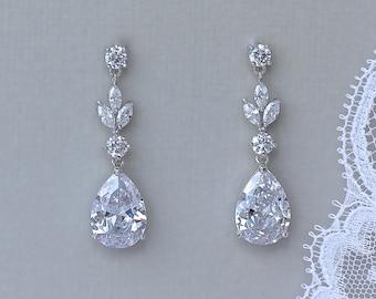 Crystal Bridal Earrings, Teardrop Earrings, Wedding Earrings,Crystal Bridesmaids Earrings,  ASHLEY SC