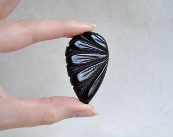 1940s Black carved Bakelite sunflower dress clip / 40s Catalin teardrop shape flower petal fur clip