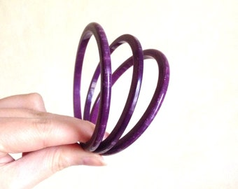 1950s Purple marbled lucite Best Plastics spacer bangles / 50s trio set early plastic bracelets