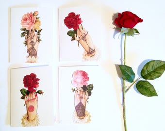 Set of 4 Novelty Vintage Victorian Henna Hands / Folded Greeting Card Set