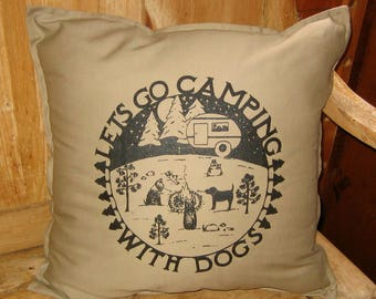 Dogs Camping Large Throw Pillow Cover