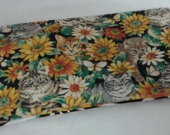 Cats Sunflower Checkbook Cover Coupon Holder Clutch Purse Billfold Ready-Made