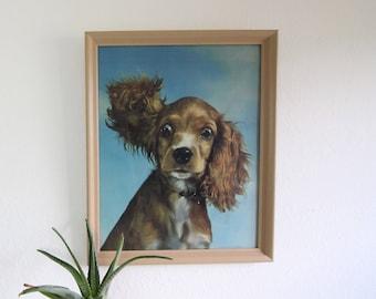 VINTAGE Dog Art 1960s Cocker Spaniel Print Framed