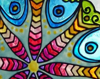 Color Wheel mandala window cling