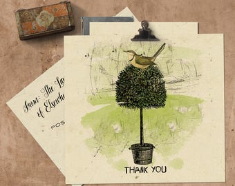 Thank You Handmade Seeded Paper Card.