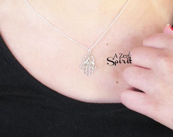 SIlver Hamsa Necklace, Fatima Necklace, Lucky Charm,Crystal Charm Necklace