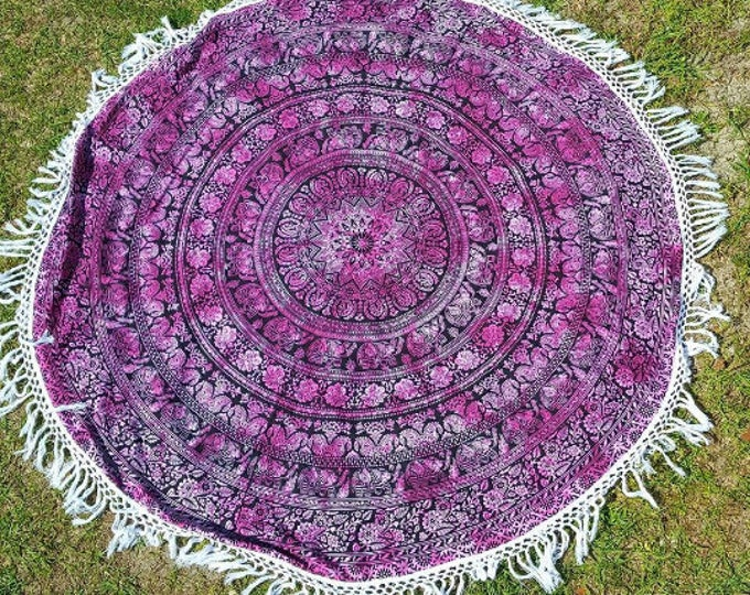 Pink and Black Elephant Mandala Roundie with White Fringe Mandala Tapestry Beach Blanket Yoga Mat Meditation Mat Dorm Decor Hippie Tapestry