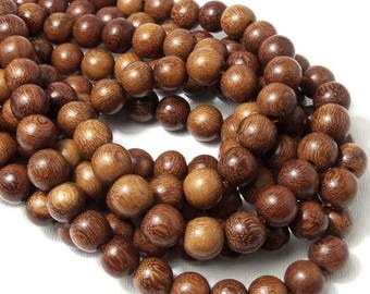 Madre de Cacao Wood, 10mm, Medium Brown to Dark Brown, Round, Smooth, Large, Natural Wood Beads, 16 Inch Strand - ID 1649-MD