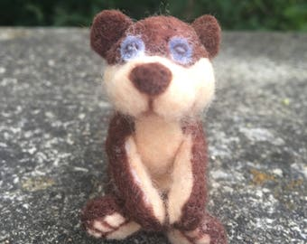 Ooak needle felted brown teddy bear
