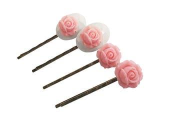 Get 15% OFF - Handmade Hair Pins - Resin Flower Hair Pins - Resin Rose Hair Pins - Antique Bronze Hair Pins - Labor Day SALE 2017