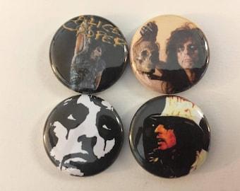 "Alice Cooper 1"" Pins Buttons Badges Set of 4 Classic Rock Horror Metal 80s Shock Rock Heavy Metal"