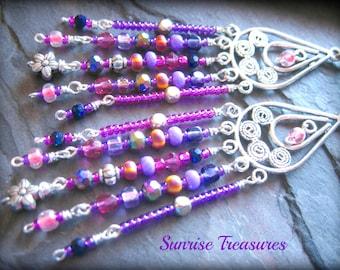 Long Beaded Bohemian Chandelier Earrings, Pink and Purple Fringe Boho Earrings, Gypsy Seed Bead Earrings, Colorful Earrings