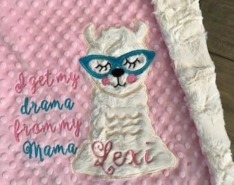 baby blanket, drama llama blanket, Personalized blanket, llma blanket  29 x 35 - Pick your colors, llma baby blanket, baby shower gift