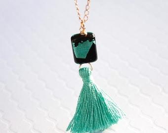 Aqua Tassel Necklace, Venetian Murano Glass, Ready to Ship