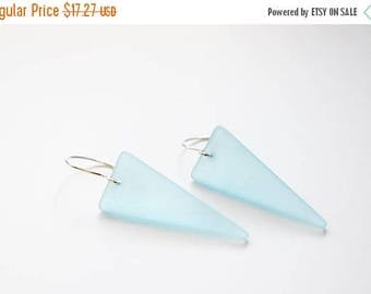 ON SALE Beach Glass Earrings, Frosted Aqua Glass, Sterling Silver, Ready to Ship