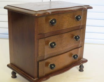 vintage Miniature Wood Chest of Drawers - Jewelry Box