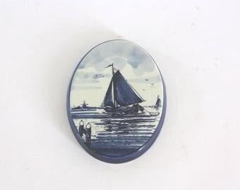 Vintage Delft Oval Porcelain Sailboat Wall Hanging, Made in Holland
