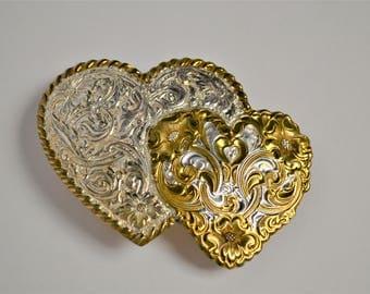 Crumrine Double Heart Belt Buckle Silverplate