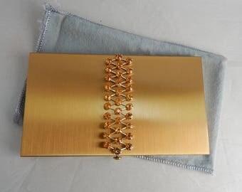 Signed EISENBERG Gold Tone Cigarette Case w/ Jeweled Top    OEL58