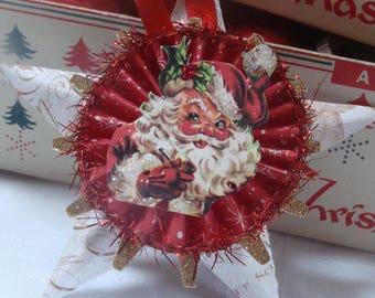 Retro Santa Star Christmas Ornament