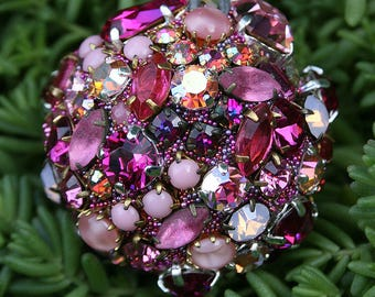 Vintage Crystals Rhinestones Ball Orb Sphere Encrusted Jewelry Ornament  Pinks, Fuchsia Shabby Original Art Home Decor Gift for Her