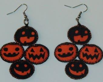 Halloween, Quilted 4 Pumpkin Earrings (HQ4PE01)