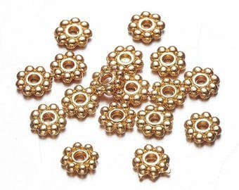 100 pcs Gold Plated Snowflake Daisy Spacer Beads- 5mm x 1.5mm - Hole Size: 1mm
