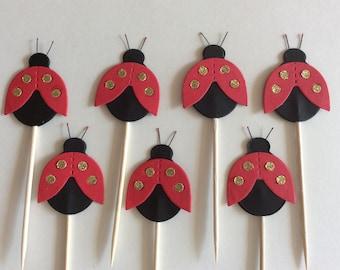 24 ladybug cupcake topper ladybug baby shower decoration ladybug birthday party