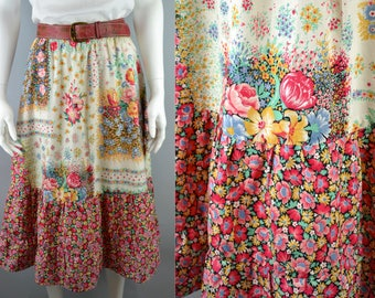"1970s tiered cotton prairie peasant skirt W28"" S-M 