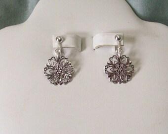 Clip on or Pierced Lightweight Antiqued Silver Filigree Flower Earrings