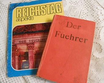 2 GERMAN THEME Books 1944 Der Fuehrer Hitler's Rise to Power by Konrad Heiden & 1970's Reichstag Reopening Historical Photo Booklet