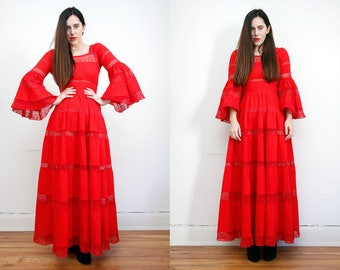 Vintage 70s Red Cotton Mexican Wedding Flute sleeve Dress Embroidered Oaxaca Maxi Dress Sz S