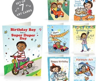 Birthday Cards Pack for Boys, Multicultural Card Pack, Cute Card, Happy Birthday Card, Multicultural, Cards Bulk, African American Card