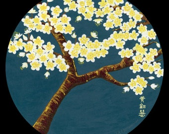 Teal green white cherry blossom branch acrylic painting poster print, white yellow sakura painting on teal blue