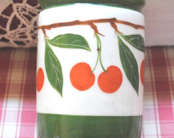 Ceramic German JAM POT CHERRIES signed