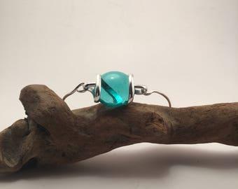 Turquoise transluscent glass jewel bangle