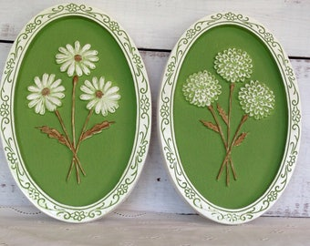 Vintage Midcentury Girotti Sculptured Art 1970s Superior Art St Catharines Ontario Canadian Plaster Pair of Floral Plaques